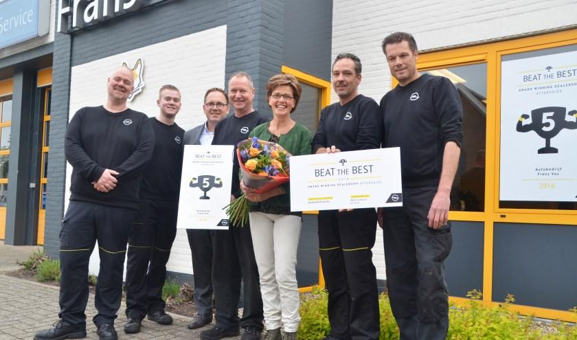 Overhandiging van de Beat the Best Award aan het team van Frans Vos.