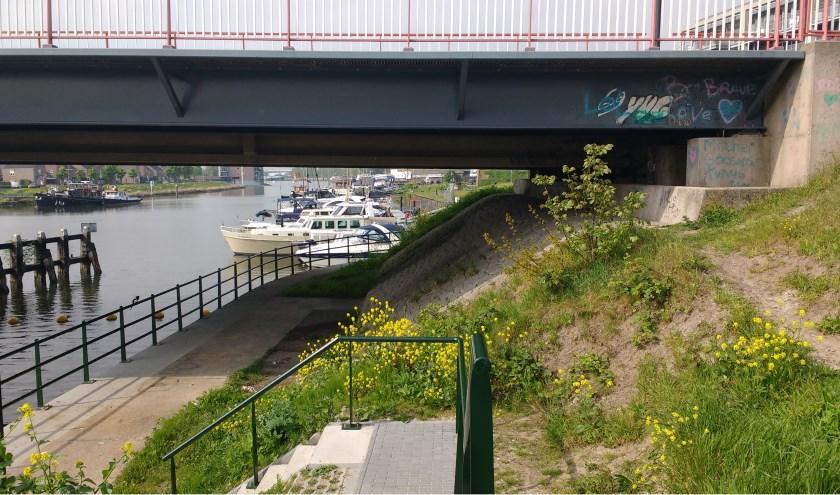 Het wandelpad onder de autobrug