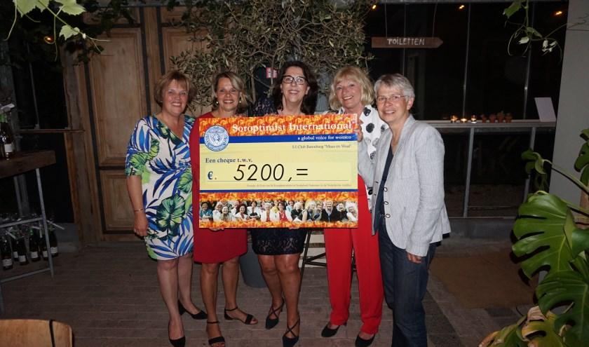 Mevrouw Lenie Scholten (rechts), voorzitter van de stichting Wereldvrouwenhuis, neemt de cheque in ontvangst. (foto: eigen foto)