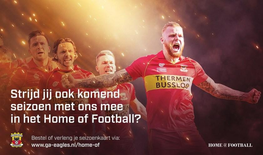 Vanaf dinsdag 14 mei wordt de seizoenkaartcampagne van Go Ahead Eagles weer hervat en kunnen supporters hun seizoenkaart bestellen via de bestelmoduel op www.ga-eagles.nl/home-of.