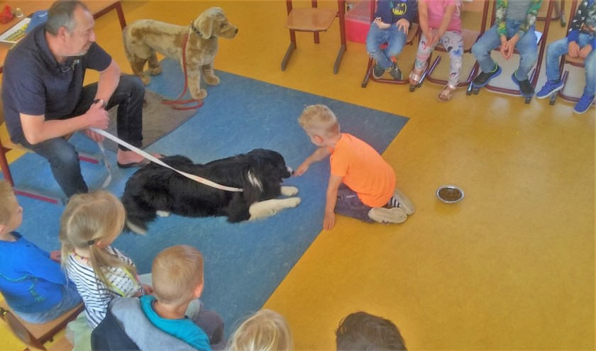 Een kleuter laat zien wat je moet doen voordat je een hond mag aaien.