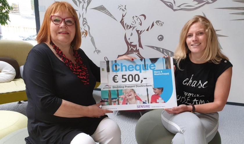 Marga Rutjes (l) van de werkgoep 'vieringen' overhandigt de cheque aan Josefien Nahuis van Present