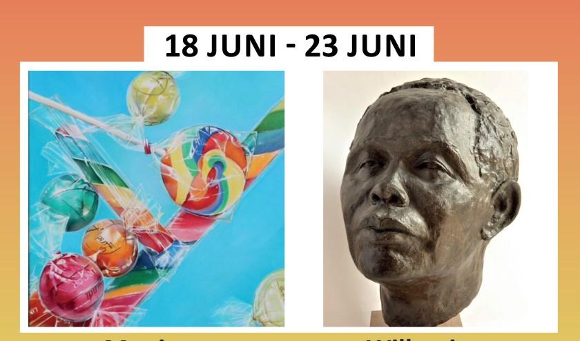 links kunst van Monique Hetterschijt, rechts van Willemien van Trijffel
