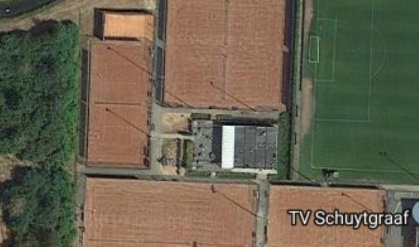 Locatie van de nieuwe padel banen op Sportpark Schuytgraaf