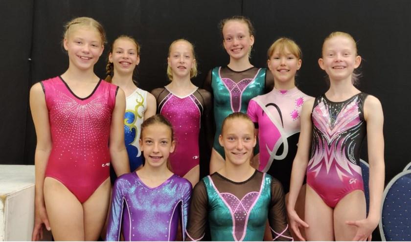 Acht van de vijftien turnsters die in actie kwamen bij de regionale toestelkampioenschappen en met een ware lading medailles naar huis gingen.