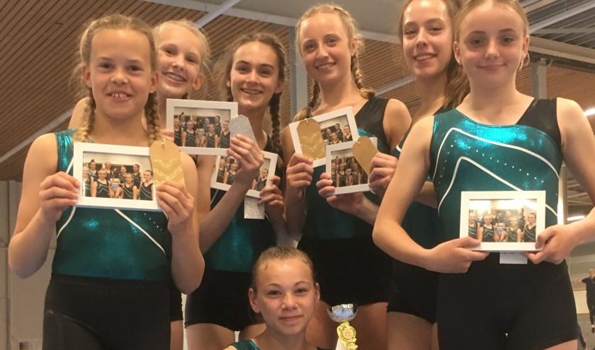 Vlnr: Anna den Boef, Britt Kok, Helene Borsje, Anna Bakker, Noa van Dijk, Demi van Tol en zittend vooraan Phoebe Overhand. (Foto: Privé)