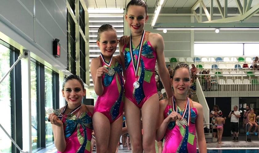 Zilver voor de synchroonzwemsters in categorie 1. (Foto: Polar Bears)