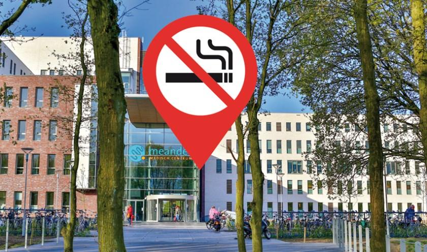 Per 1 augustus is ook de directe omgeving van de Meanderziekenhuizen in Amersfoort en Baarn rookvrij.