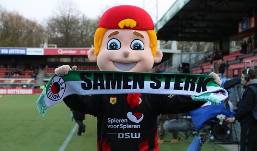 Woutje Stein, de mascotte van Excelsior Rotterdam, is er ook bij op zaterdag 10 augustus.