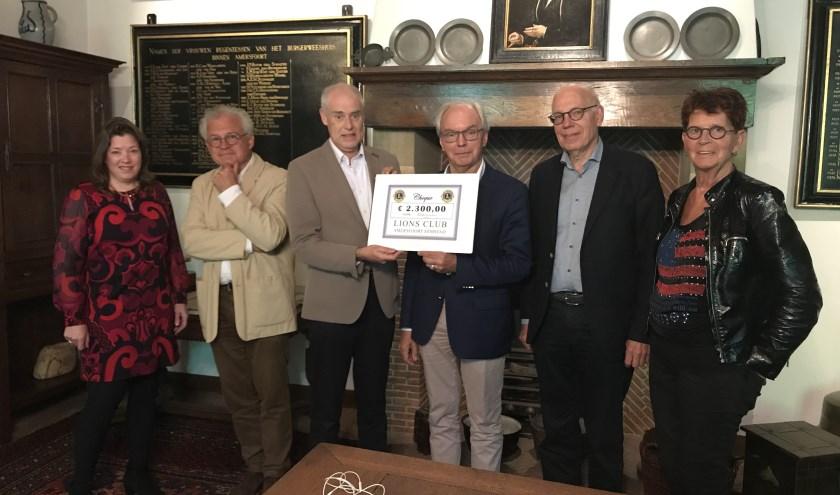 Overhandiging van de cheque door leden van de Lionsclub (links) aan bestuursleden van het BWH (rechts).