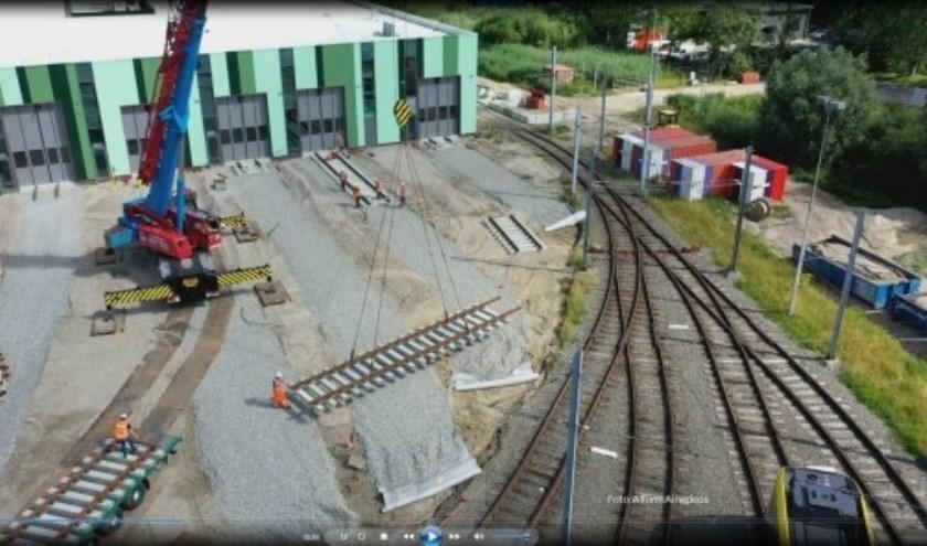 Spoorbouw op de remise. Bron: Alfons Airvideos.