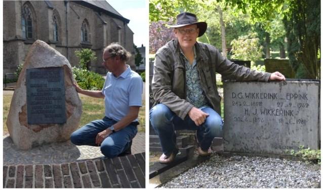 Jan Wikkerink bij het monument Dick Wikkerink bij het graf van Ome Jan. Foto: Karin Stronks  © DPG Media