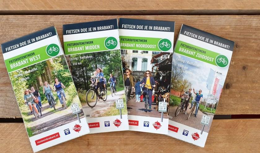 De 4 kaarten (West-, Midden-, Noordoost- en Zuidoost-Brabant) tonen het (volledige) fietsnetwerk in Brabant, goed voor 5.000 km fietsplezier.
