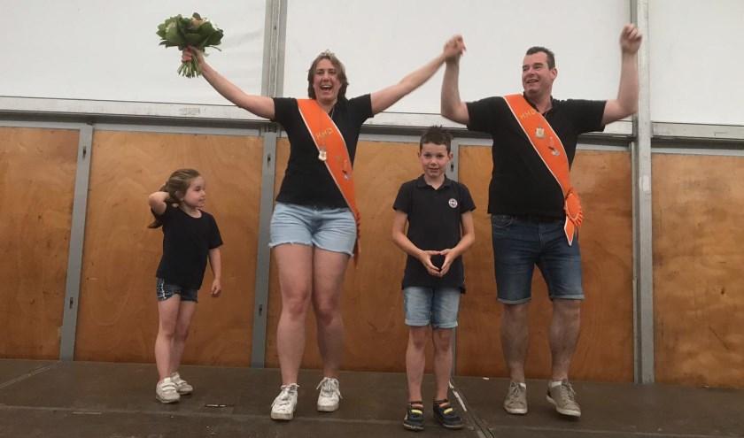 Blijdschap bij het koningspaar Karin Stemerdink en Niels Richter en de kinderen. (Foto: PR)