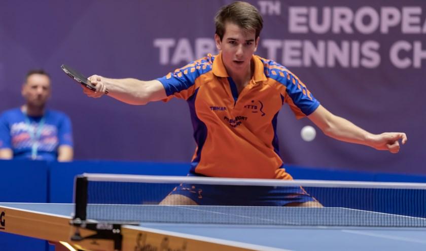 Floris Zur Muhlen speelde zeer verdienstelijk op het Jeugd EK Tafeltennis. Foto: Henk Hommes