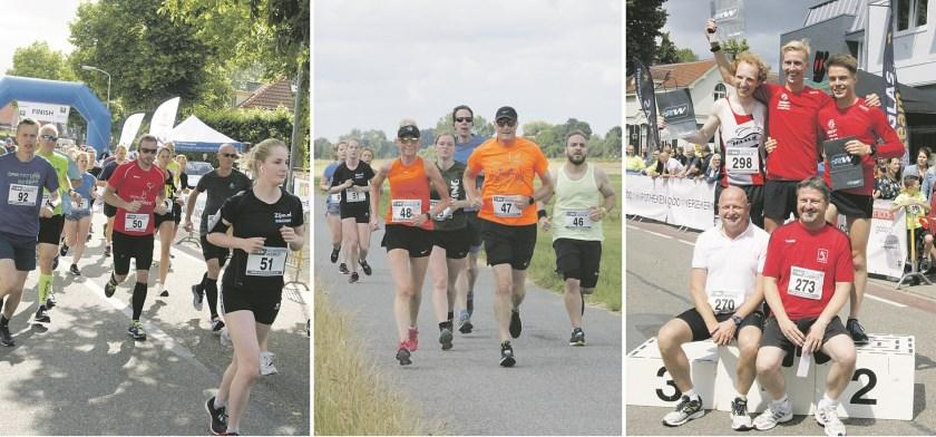 Vlnr: de start, lopers op de dijk en het podium van de 5 kilometerloop met op de voorgrond Constantijn en Paul Jakobs van sponsor Gaba.