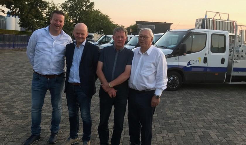 Productiemanager William Flim, Tonnie Kampman, Henk Euverman en oud-directeur Gerrit Friesacher.
