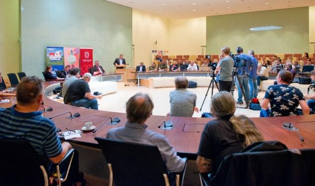Zoals elk jaar was er weer heel wat pers bijeen voor de traditionele persconferentie voorafgaand aan de Vierdaagse. (Foto: Maaike van Helmond) Foto:  © DPG Media
