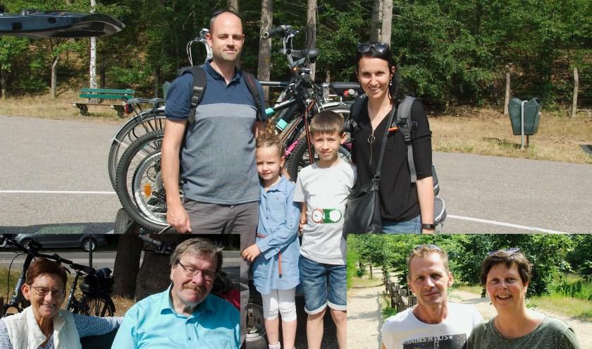 Toeristen bij de waterval in Loenen. Linksonder de familie Merjenburg, rechts de familie Wouters, achter: de familie Van Praet.