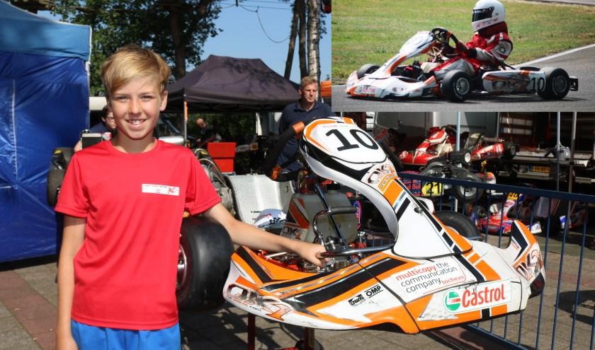 Siebe Wijma (12) bij zijn kart. Inzet, tijdens de race. (Foto: Arjen Dieperink)