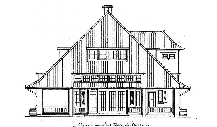 Tekening van het landhuisje dat onlangs gesloopt werd. Het werd gebouwd in 1911 in opdracht van textielhandelaar Dirk Hofland. info: www.heemkundekringtilburg.nl