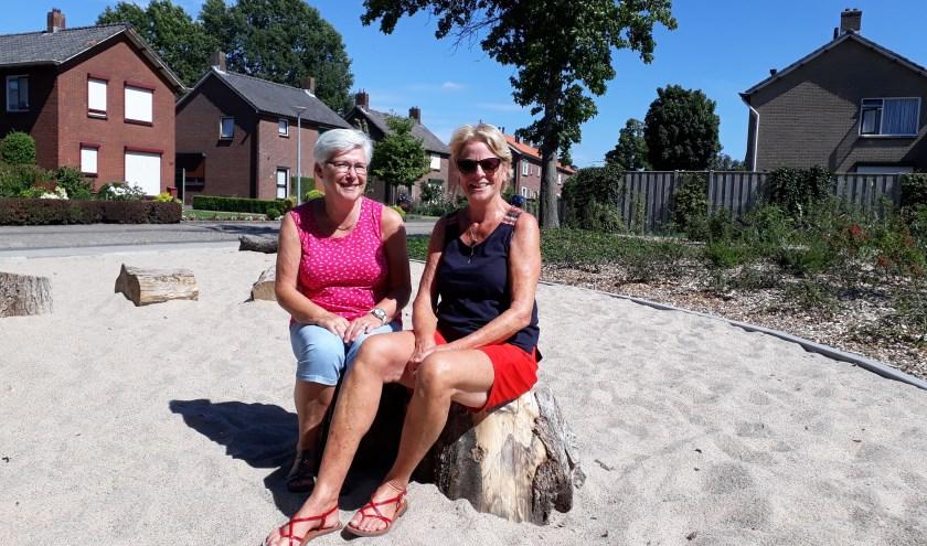 """Gerrie en Ingrid op een tot voor kort braakliggend terrein. """"En moet je nu zien: je kunt er zitten en het is mooi aangeplant."""" (foto: Ceciel Bremer)"""