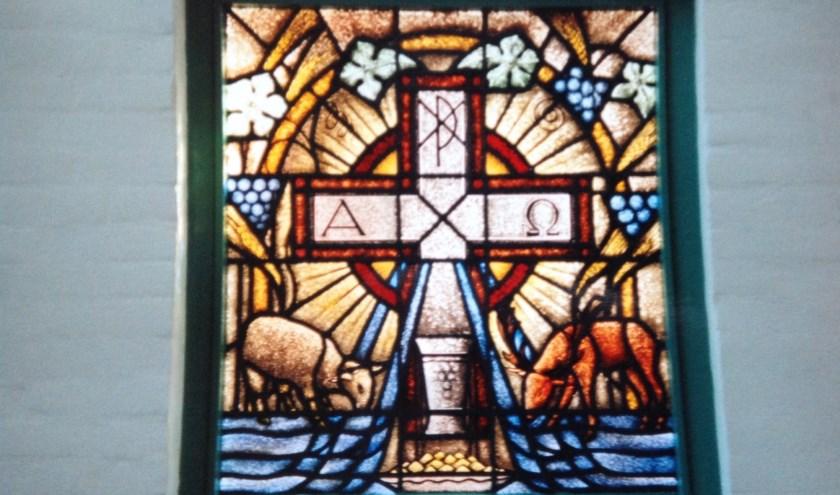 Gebrandschilderd raam Moriakerk, Westkapelle.