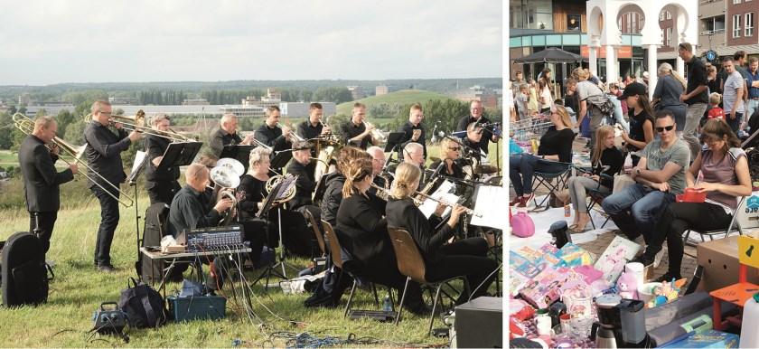 De foto links is gemaakt tijdens het optreden van DT Orchestra op de Bult van Putman zondagmiddag. Rechts een beeld van de Zomerfair op vrijdag.