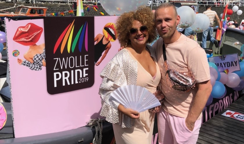 Initiatiefnemer van Zwolle Pride met Niek lá Mon en  Gina Maria, de allereerste burgaymeester van Nederland.