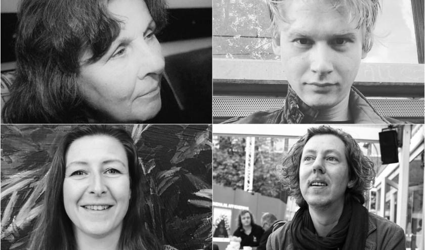 De kandidaat-stadsdichter, met de klok mee: Jeanine Hoedemakers, Friso Woudstra, Doeko L, en Marion Kerkhof.