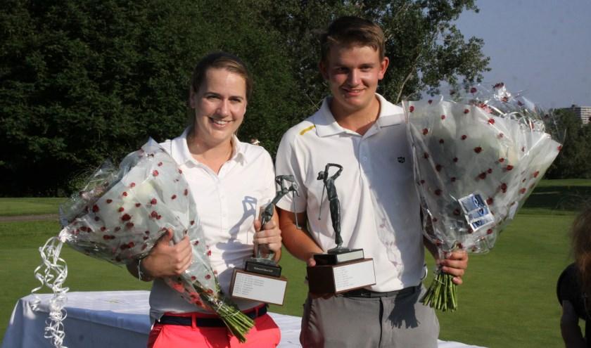Michelle Wouters van Golfclub Cromstrijen en Maik Spoor van Golfvereniging Leeuwenbergh.