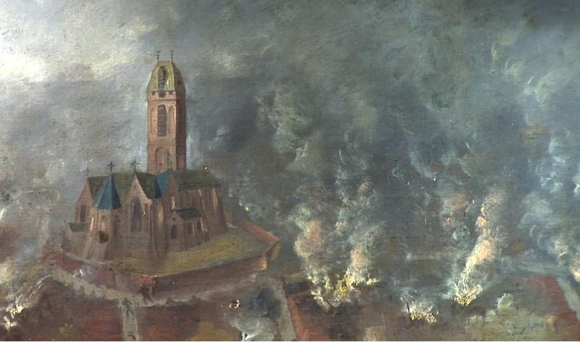 Detail van het 4.78 meter brede en 1.78 meter hoge doek van Dirck Stoop uit 1650. In 1575 zette een Spaanse troepenmacht Oudewater in vuur en vlam, plunderde de stad en doodde tal van inwoners.