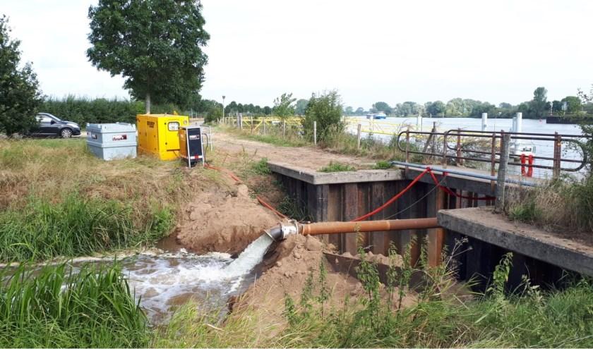 Pompen van Maaswater naar Sambeekse Uitwatering. (persfoto)
