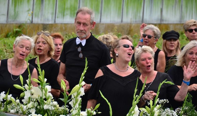 De dames en heren van 'Koor 4Fun Naaldwijk' hebben het wel naar hun zin zo te zien (Foto Frans Assenberg).