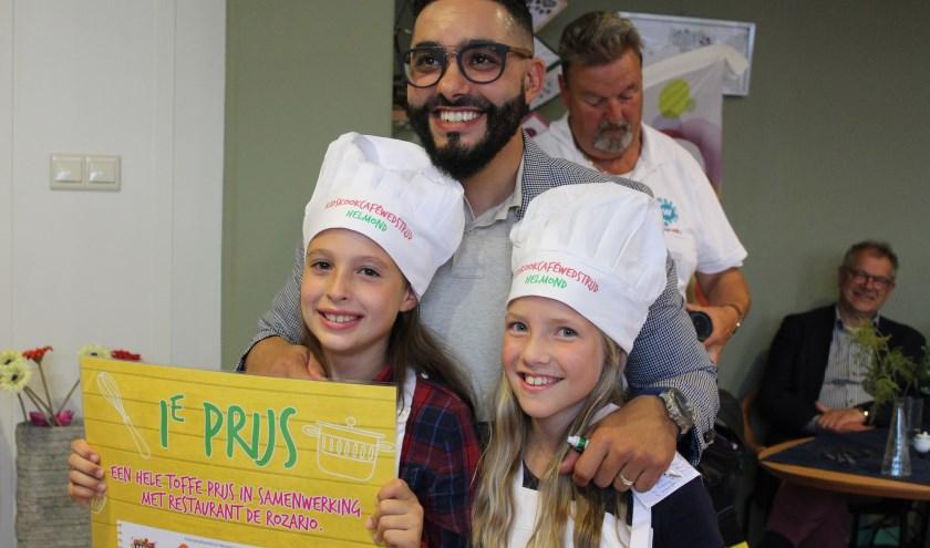 De winnaars van de Kidskookwedstrijd 2018 samen met chef-kok Mounir Toub.