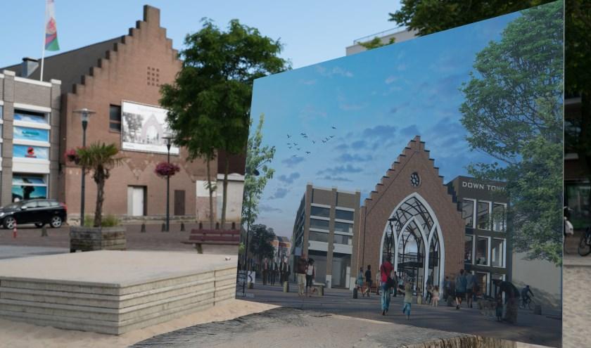 Kort voor de verbouwing dit voorjaar: de oude kerk en op illustratie zoals het nu is geworden, het tegenwoordige DownTown.