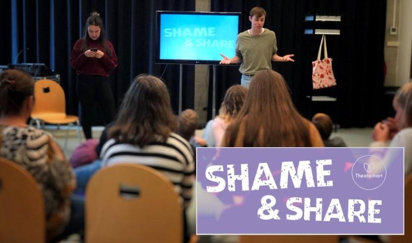 """Met Shame & Share laat Theaterhart eersteklassers ervaren hoe je om kunt gaan met pesten. Speelster Noel. """"Je hoeft niet allemaal bevriend te zijn, zo lang je maar respect voor elkaar hebt."""""""