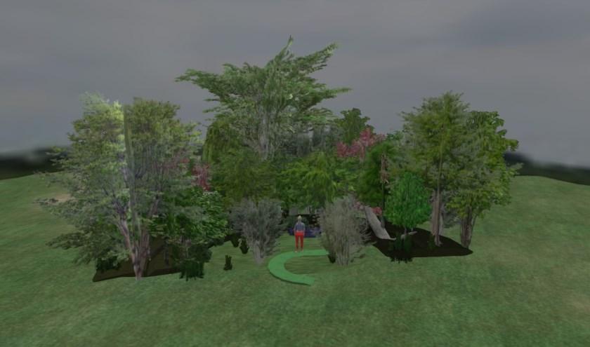 Een Land Art Bos gemaakt in Derbyshire Engeland, het Willow Spiral. (Foto: Privé)