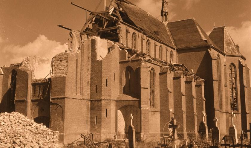 bombardement van de kerk in Doornenburg