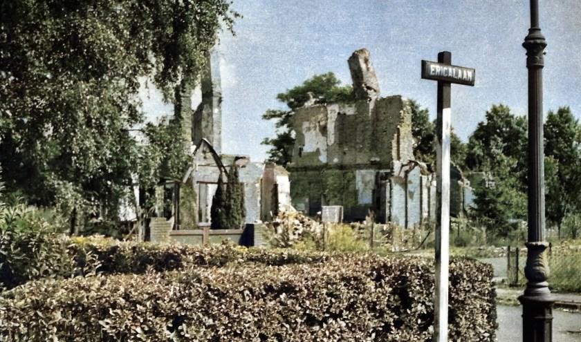 De huizen aan het Ericaplein na het bombardement op 17 september 1944.