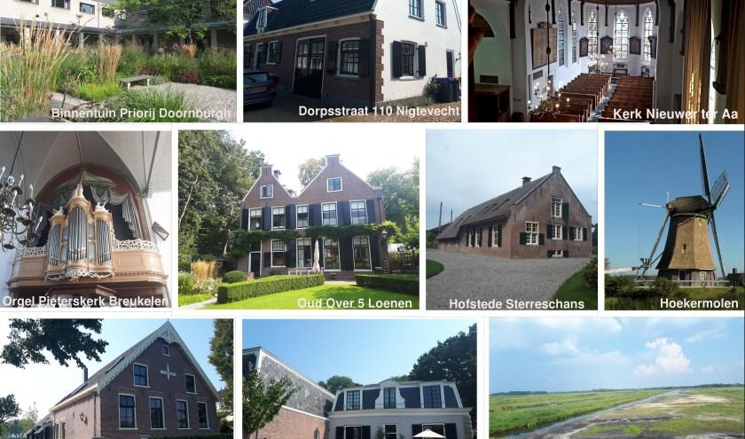 De tien genomineerde restauratieprojecten, die kans maken op de Bronzen Troffel. Eigen beeld