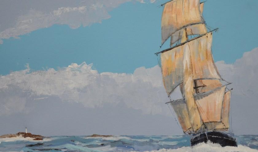 Een deel van het schilderij 'Running Fast' van Wim Lafère.