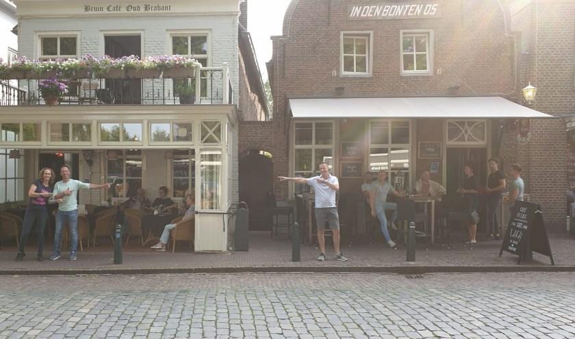 Van links naar recht : Maike en Jouke bij café Oud Brabant en Rob bij café de Lach