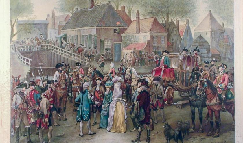 De bekende schoolplaat van de aanhouding in 1787. Op precies dezelfde plaats wordt dit cruciale moment in de vaderlandse geschiedenis tot leven gebracht.