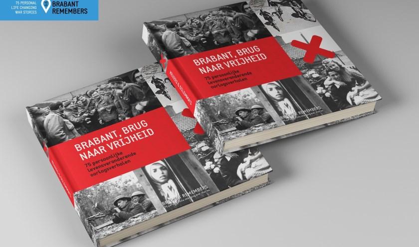 Het boek, 'Brabant, brug naar vrijheid'. Zo'n dertig verschillende schrijvers hebben een bijdrage geleverd aan deze bundel.