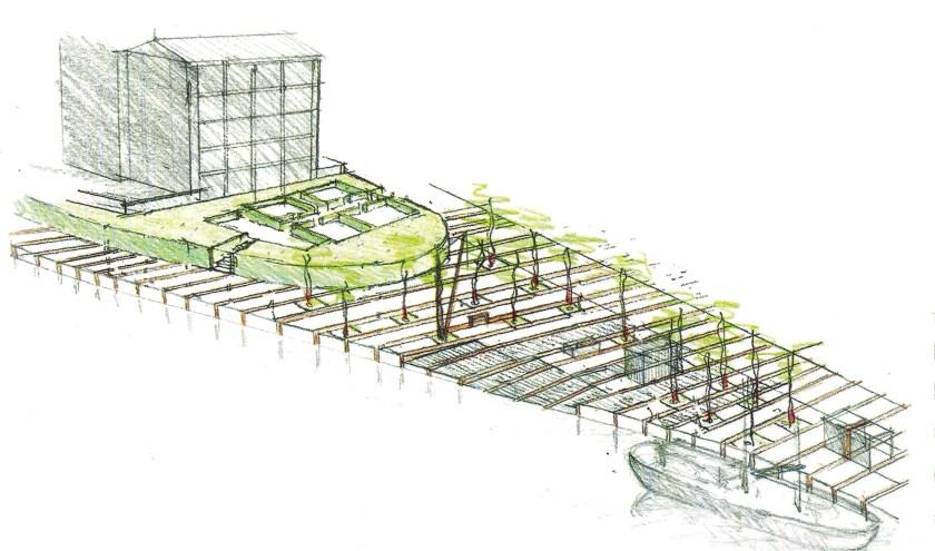 Onderschrift: Impressie van de aan te leggen tuin (of plein) aan de Hoflaan met zicht op de begane grond van het huis Van Ruytenburch.