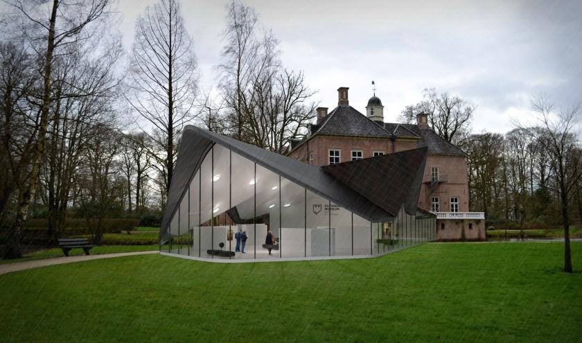 De nieuwe virtuele kunstvleugel van het Rijssens Museum is te betreden met een VR-bril via de hal van het kasteel en is deels over de gracht gebouwd.Artist's impression: Letink Design Enter