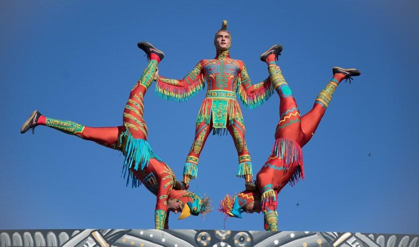 Cirq' ulation Locale brengt een show in de stijl van Maya krijgers met acrobatie,dans, humor.
