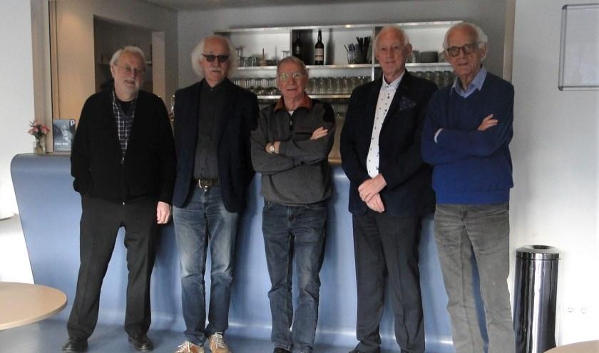 V.l.n.r.: Erik Mastenbroek, Johan Kuijten, Mart Schuiteman, Jaap Veneman, Hans Zwart