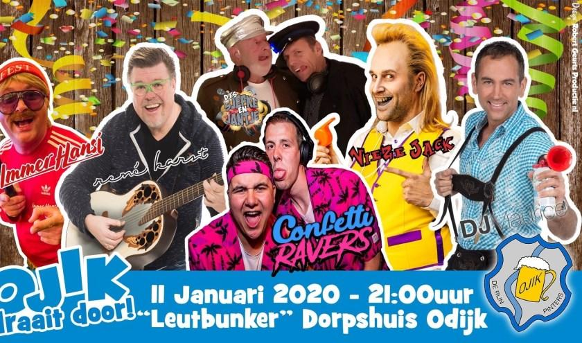 Immer Hansi, Maurice Huismans, Rene Karst, Vieze Jack en The Confetti Ravers zij de artiesten in de grote feestzaal.